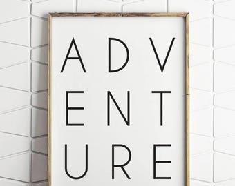 80% OFF adventure black and white, adventure typography, adventure printable, adventure digital art, adventure wall decor