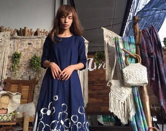 A001. Lovely cotton dress with hand embroidery and half length sleeves for everyday wear.