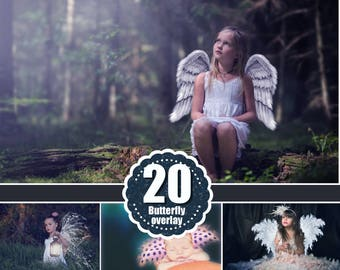 20 angel magic fairy fantasy  wings, light, star, glitter, dust, butterfly, Photo Overlays, Photoshop Overlays,  png file