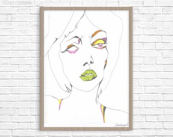 Pen and ink fashion face