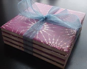 Pink Sunburst handmade ceramic tile coasters