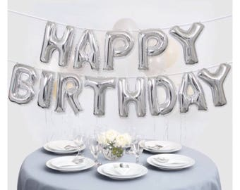 Silver Happy Birthday Balloon Banner- Happy Birthday silvet letter balloons- silver foil balloons- birthday mylar balloons- birthday decor.