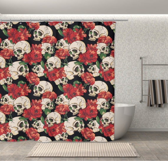Red Rose and Skull Shower Curtain