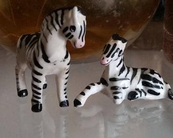 Pair of vintage miniature bone china zebra figurines