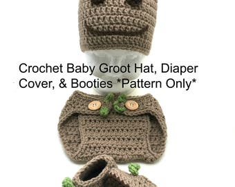 Crochet Baby Groot Hat, Diaper Cover, and Booties *PATTERN ONLY*