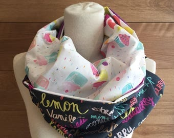 Foulard infini patchwork cup-cakes