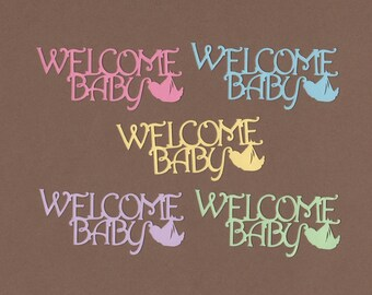 10 Welcome Baby Die Cuts for Paper Crafts Pastels Set 5551