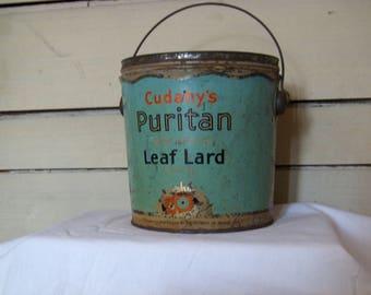 """Vintage metal bucket with handle. Cudahy's Puritan Leaf Lard 6x6"""""""