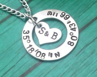 Coordinates pendant, washer pendant, longitude necklace, latitude pendant, GPS, custom,  washer, hand stamped jewelry, initials.