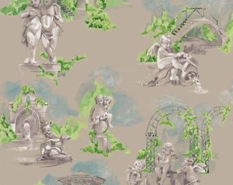 Garden fabric by the French - Angels - putti - 100% linen - sold by the yard