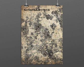 Gelsenkirchen DIN A4 / DIN A3 - print - turquoise