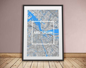 Amsterdam-Framed City-digital printing