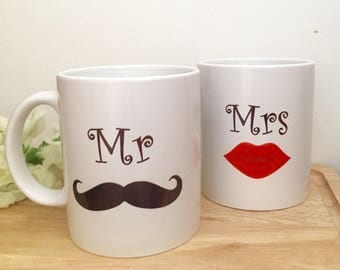 Personalised wedding mugs, wedding mug set, Mr and Mrs mug set, wedding gift set, mugs, wedding gift, anniversary gift,