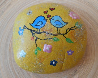 Hand Painted Stones,Home Decor,Painted Rock, Pebble,Acrylics, Birds in Love
