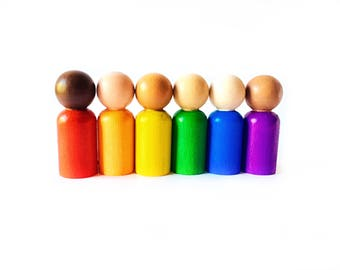 Waldorf Peg People - SALE - Rainbow Peg Dolls, Montessori Toddler Toy, Preschool Color Learning, Rainbow Gnomes