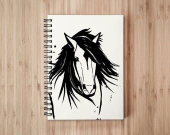 Horse Notebook/Sketchbook Wire Bound - Blank pages