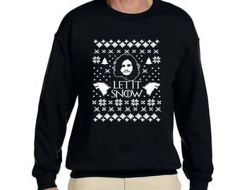 Let it Snow Men's Women's Unisex Heavy Longsleeve Ugly Christmas Sweater Game of Thrones GoT Jon Snow Stark Targaryen Valar Morghulis Xmas