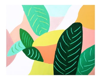 abstract tropical leaf sunset jungle painting original canvas art