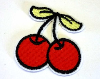 Embroidered Cherries With Light Green Leaves Iron on Patch or Sew on Patch - H543