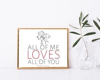 Custom Love Printable, Valentines Day Print, 8x10, Great Gift, Digital Decor, Love Custom Printable Quote,  Love Printable Wall Art, Custom