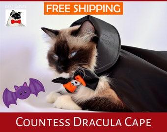 Halloween cat costume 'Countess Dracula Cape'  costume pet - Halloween cat costume pet reversible - Dracula cat top hat costume