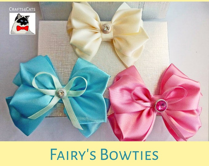 Featured listing image: Kanzashi fancy pet bow ties - slide on bow tie for cat collars - satin bow tie for dog collar