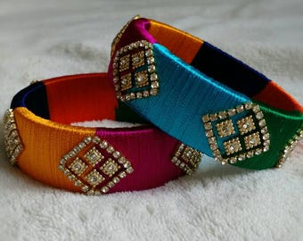 Silk Bangles ~ MULTICOLOR - A set of 2 Handmade Silk Thread Woven Bangles ~ Wedding Gifts, Henna Gift, Bridal Shower Bangle