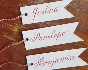 Personalized Name Tags - Custom calligraphy - Name tags - Custom gift tags