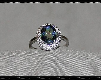 Sterling Silver & Mystic Topaz Ring