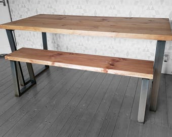 Hoxton Rustic Industrial Reclaimed Wood Dining Table Metal U Frame Various Size UK Made Brown
