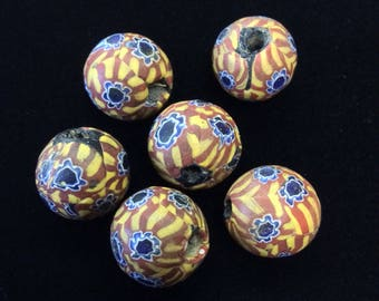 3 Matched Round Millefiori Trade Beads - Rare SALE was 50 USD