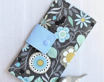 Floral blues  Womens wallet, slim bifold clutch wallet,handmade fabric wallet, ID card wallet, checkbook wallet, gifts for her