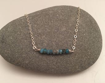 Apatite Bar Layering Necklace on Delicate Gold/Silver Chain