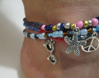 Bead anklet/Charm anklet/Stacking anklet/Summer beads/charms/stackable/Gift ankle Bracelet anklet Bracelet ankle anklet/Bracelet