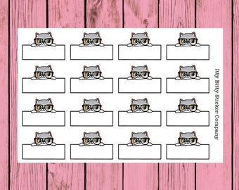 Nerdy Mauly Quarter Boxes - Hand Drawn IttyBitty Kitty Collection - Planner Stickers