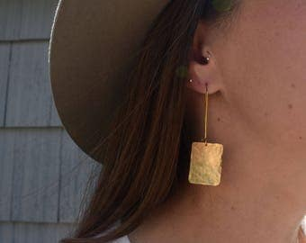 Small Square Hammered Earrings