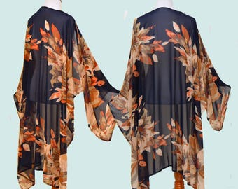 Brown floral robe, backstage wrap, Asymmetrical kimono, gypsy duster, lingerie cover up, batwing cardigan, seductive boho robe,