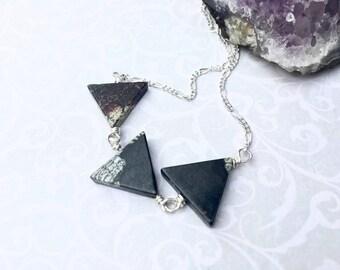 Jasper Triangle Necklace - Triangle Necklace - Geometric Necklace - Layering Necklace - Jasper Jewellery - Silver Necklace - Contemporary