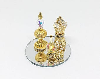 Miniature Ornate Crystal Perfume Bottles & Objet D'art with Tray