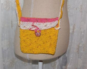 Bag cotton hand crocheted yellow pink and white