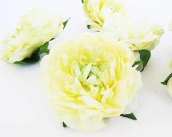 "Silk Flowers 22 Mini Ranunculus Flowers Heads Creamy Yellow Artificial Silk Flowers 2"" Floral Hair Accessories Flower Supplies DIY Wedding"