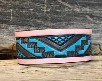 Upcycled Western Cuff Bracelet, Tooled Leather Bracelet Cuff, Boho Leather Cuff, Unique Leather Cuff, Women's Leather Cuff Bracelet
