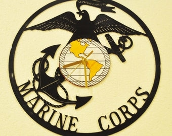 Marines themed Vinyl Album Record Clock made in the > USA < with FREE Shipping!
