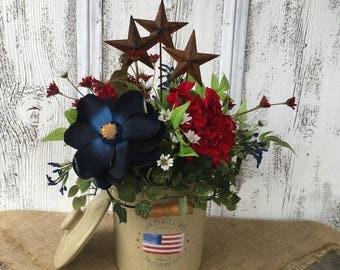 Americana Crock Floral Arrangement, Vintage Crock Fourth of July Summer Arrangement, Star and Crock Arrangement, FAAP, Memorial Day Decor