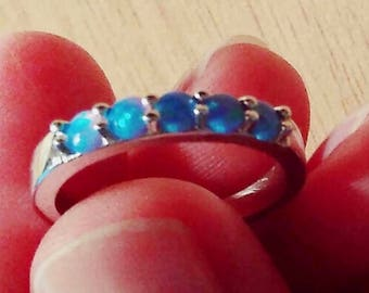 Blue  fire opal band, stacked ring, wedding  ring