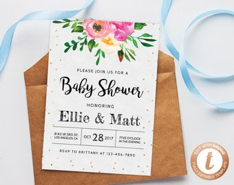 INSTANT DOWNLOAD Baby Shower Invitation Template, Printable Floral Baby Shower Invitation, Baby Shower Invitation, Gold Glitter, Templett