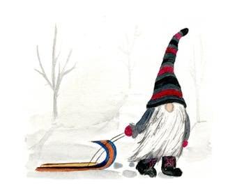 5x5 Gnome Print - January, Scandinavian Gnome, Tomte, Nisse