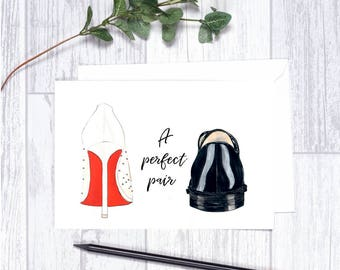 """A Perfect Pair - Note Cards - 4""""x6"""" - Individual - Bridal Greeting Cards - Gifts for Her -Bridal Note Cards - Bride and Groom -Bridal Shower"""