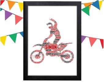Personalized Gift Motocross Gift Moto X Wall Art Wall Prints Wall Art Wall Decor Motorcycle Motorbike Dad Personalised Gift Wall Art Prints