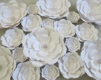 "18 Giant Paper Flowers, White Wedding Flower Wall, Rose Nursery Decor Bridal Shower 3D Floral Background, 6-16"" Huge Roses"
